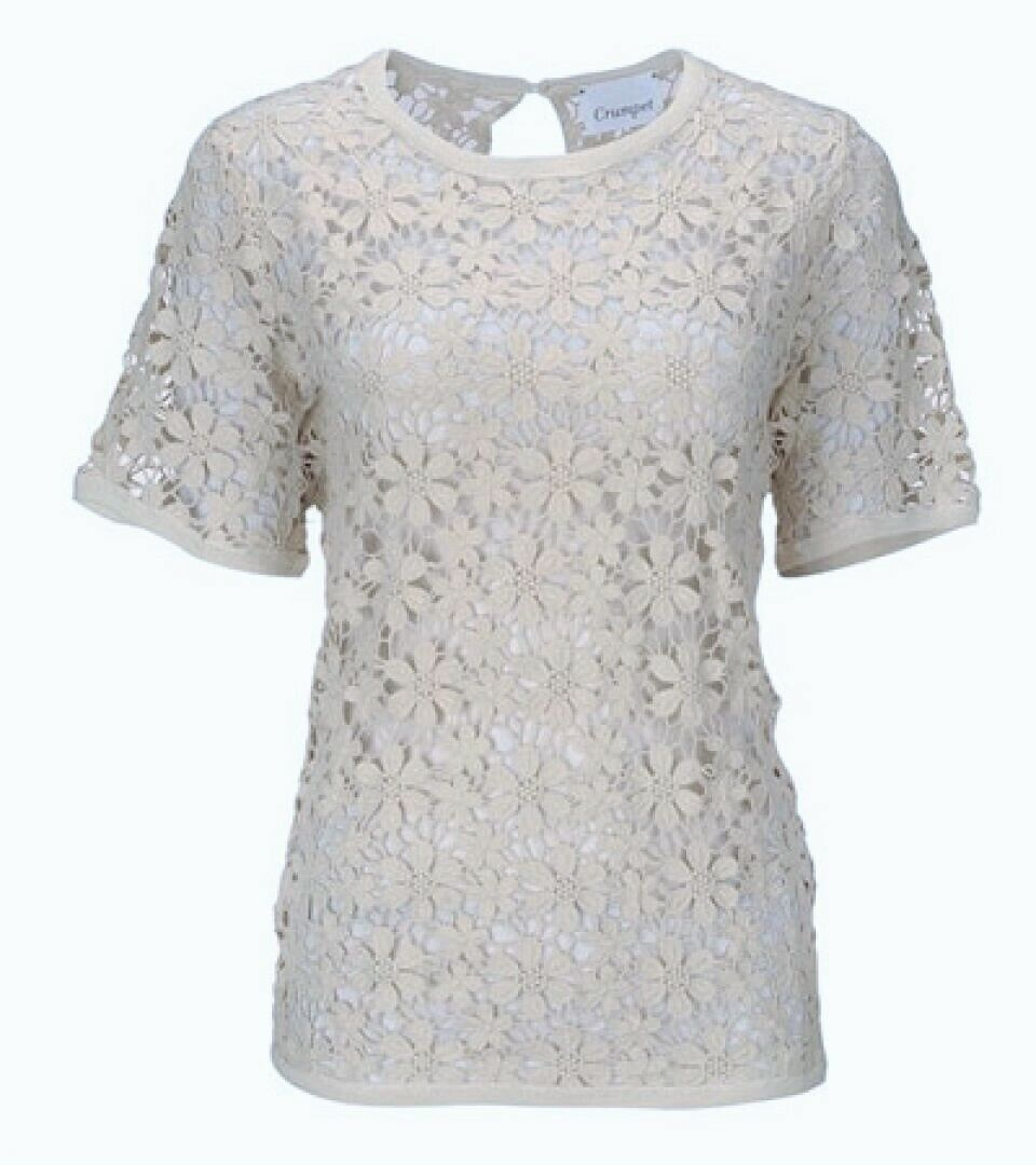 CRUMPET cashmere and cotton crochet daisy lace t shirt top in cream size M