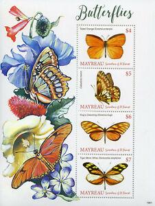 Dynamique Mayreau Grenadines St Vincent 2019 Neuf Sans Charnière Papillons 4 V M/s Papillon Timbres-afficher Le Titre D'origine