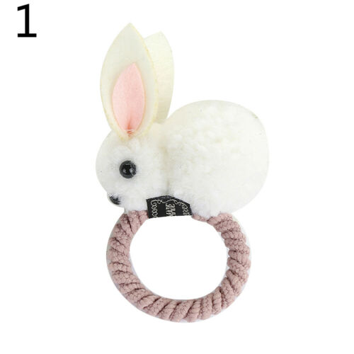 LX/_ Children Baby Girls Cartoon Rabbit Bunny Plush Elastic Hair Ring Rope//Clip