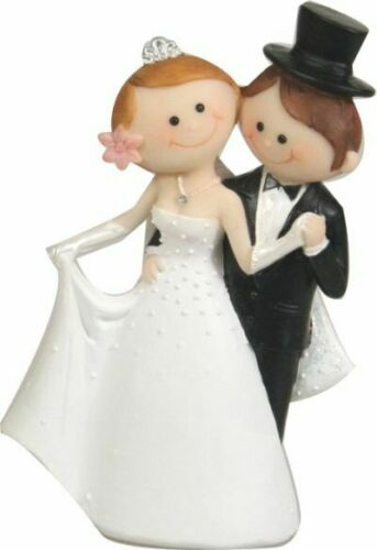WEDDING CAKE TOPPER Dancing Bride and Groom cute novelty figurine decoration