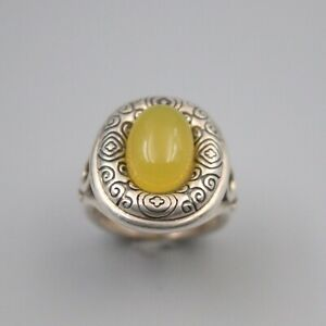 Pure S925 Sterling Silver Yellow Jade Carved Pattern Band Women Gift Square Ring