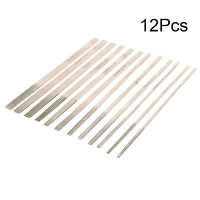 180mm Diamond Needle File Kit Polishing Glass Burrs Tool 140 200 400 Grit 12Pcs