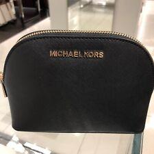 Authentic Michael Kors MK Jet SE Black Saffiano Leather Travel Pouch Makeup Bag/