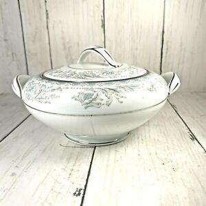 Noritake-China-BELMONT-Sugar-Bowl-With-Lid-5609-Teal-Gray-On-White-Platinum-Trim