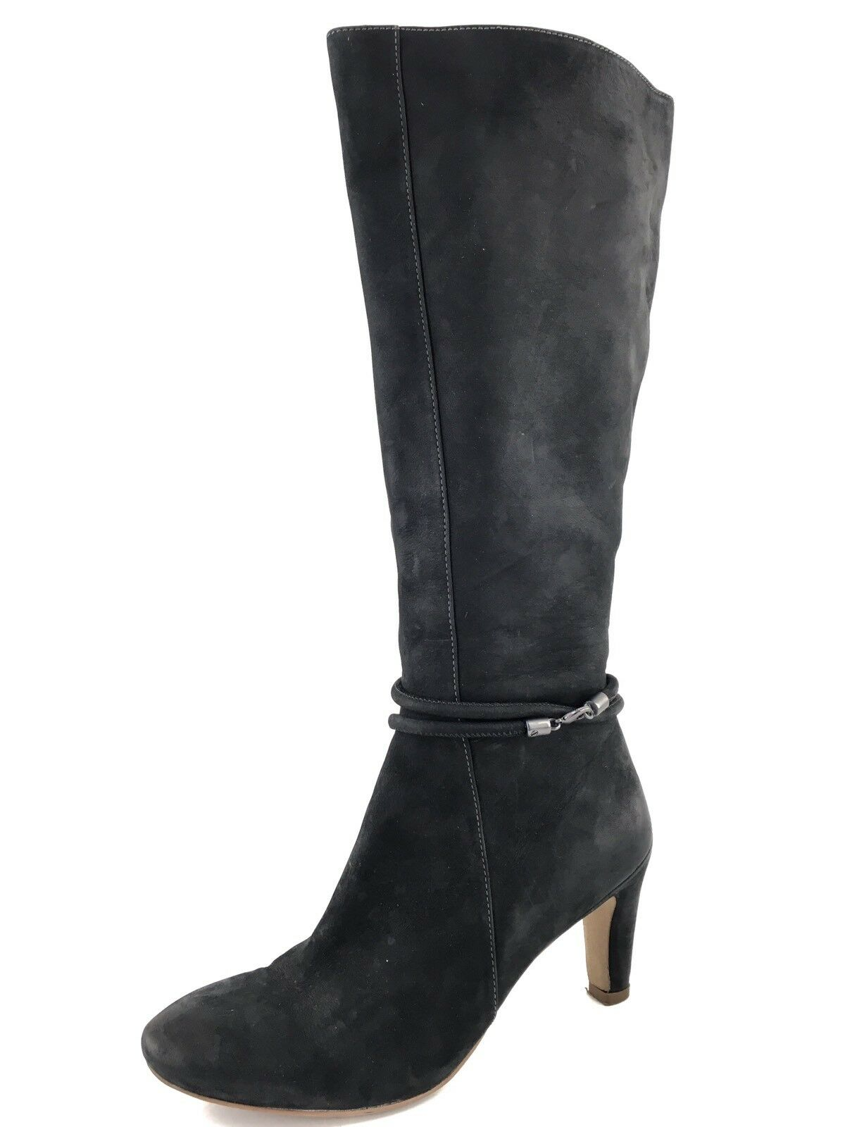 ECCO Nephi Black Nubuck Leather Knee High Boots Womens Size 38 M *