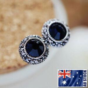 Antique-Style-925-Sterling-Silver-Blue-Sapphire-10mm-Stud-Earrings-Vintage-Look