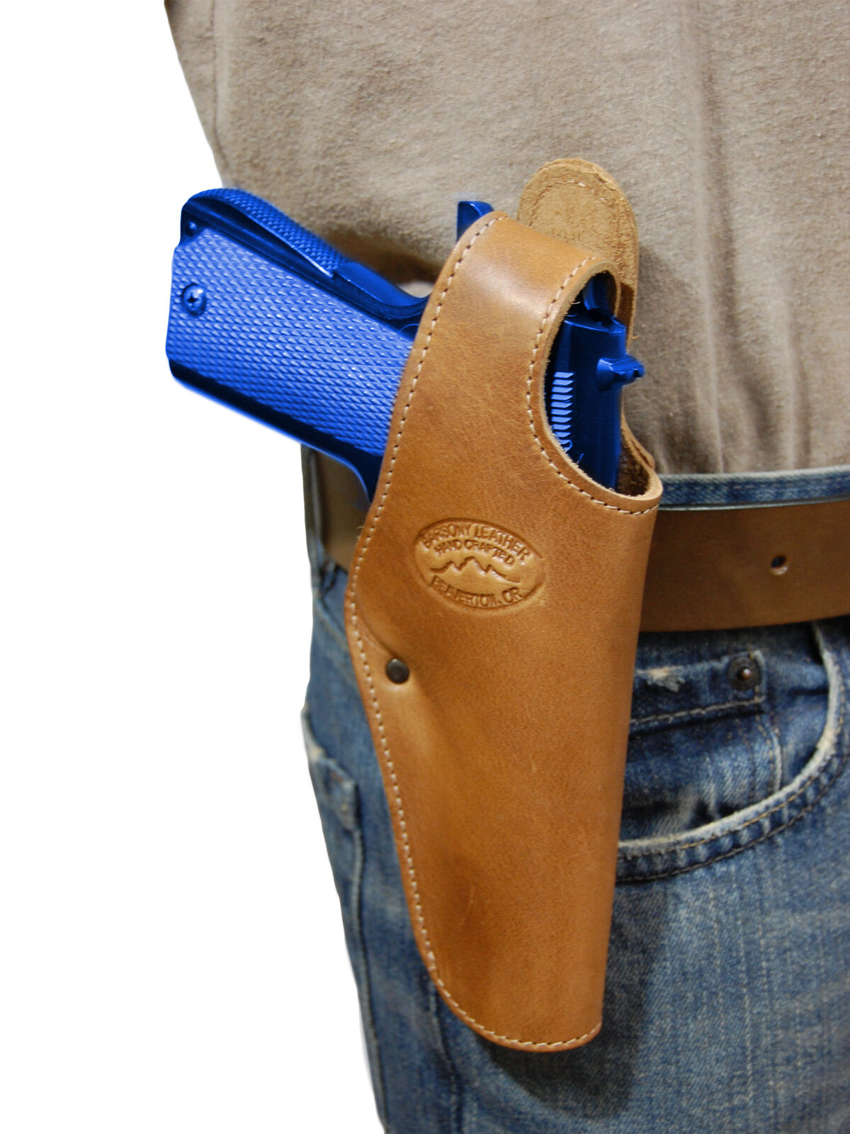 New Barsony Saddle Tan Leder Belt OWB Holster for CZ, EAA Full Größe 9mm 40 45