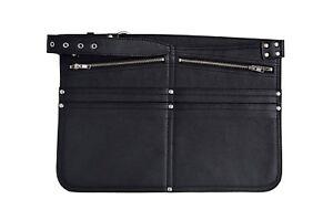 LEATHER BLACK CASH BAG HOLSTER TRAVEL MARKET TRADERS SHOULDER STRAP ZIP BUM BAG
