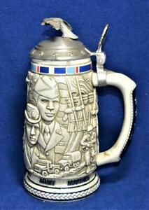 1990 AVON Handcrafted Brazil TREBUTE AMERICAN ARMED FORCES Lidded Beer Stein