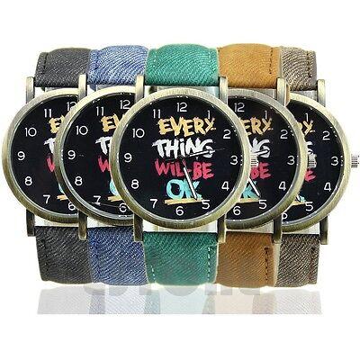 New Women Men Unisex Leather Band Analog Quartz Sport Wrist Watch Watches