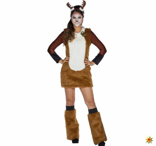 34-48 Kleid Rehkitz braun Haarreif Fasching Karneval Damen Kostüm Tier Reh Gr