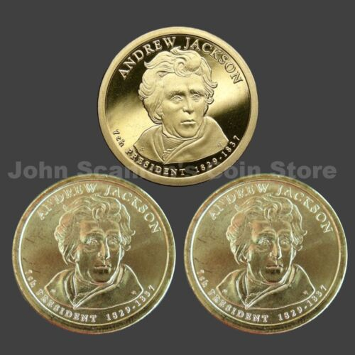 3 Coins Trio of 2008 Jackson Presidential Dollars P/&D BU and S-Mint Proof