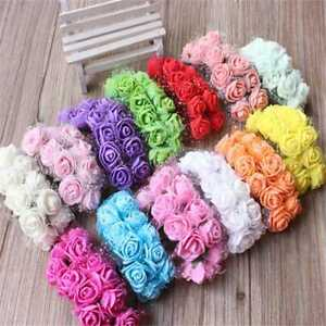 144PCS-Mini-Artificial-Fake-Rose-Flower-Plastic-Bulk-Wedding-Party-Decor-Gift
