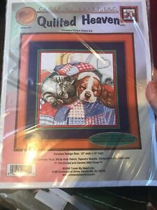 Quilted-Heaven-Cross-Stitch-Kit-W-Aida-Dog-Cat-Cross-My-Heart-Retired-On-Quilt