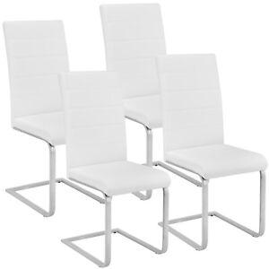 Set di 4 sedia a sbalzo per sala da pranzo tavolo cucina eleganti moderne bianco
