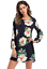 Womens-Flower-Print-long-Sleeve-Top-Blouse-mini-dress-Casual thumbnail 7