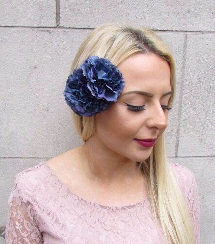 Double Navy Blue Carnation Flower Hair Clip Fascinator Rockabilly 1950s 4388