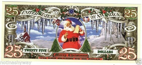 Merry Xmas 25 Dollar Bank Note Gift Card Present Tree Unique Christmas Advent UK