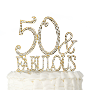 50 And Fabulous Cake Topper Gold for 50th Birthday Party ...