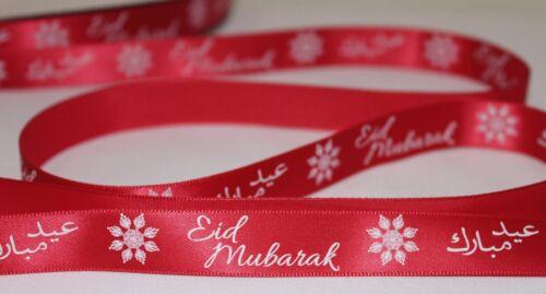 Red Eid Mubarak satin ribbon 10mm//16mm width *Various quantities* eid ribbon