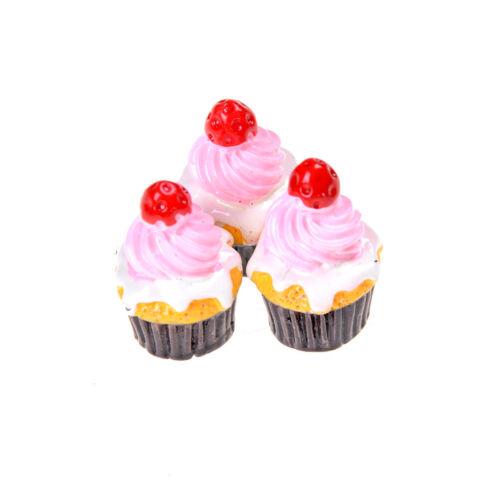 3Pcs modelos de alimentos Fresa Tortas en miniatura accesorios de casa de muñecas FAD HGUK