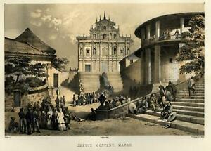Jesuit-Convent-Macau-China-Street-Scene-1856-Perry-Expedition-litho-view-print