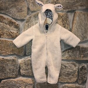 a1731c82a BABY GAP Girls Sherpa Bunny Snowsuit One-Piece Cotton Lined 3-6 ...