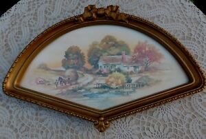 Vintage-HOMCO-Fan-Wall-Frame-Country-Autumn-Scene-Print-Home-Interiors