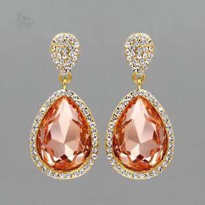 a8253968cd18 Image is loading Gold-Plated-Peach-Crystal-Rhinestone-Wedding-Bridal-Drop-