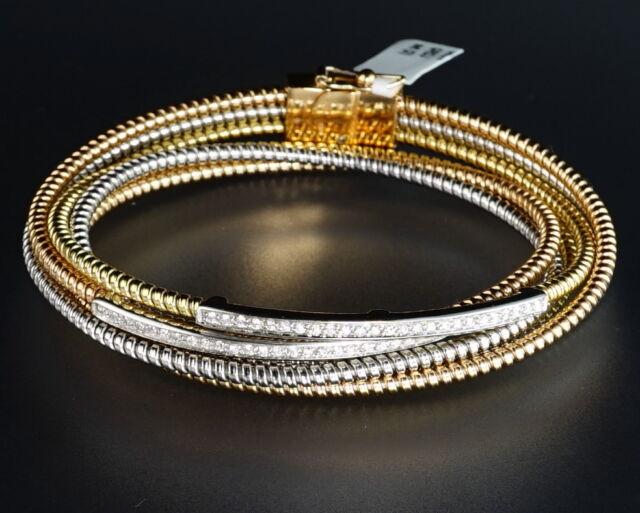 18K Rose White Yellow Gold Diamond Bar Cobra Snake Coil Designer Bangle Bracelet