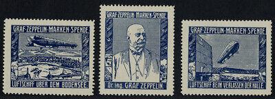 """Luftfahrt & Zeppelin Vignette: Satz Bestehend Aus 3 Vignetten Der """"graf- #1816 Up-To-Date-Styling"""