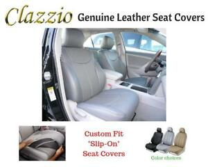 Clazzio-Genuine-Leather-Seat-Covers-for-2009-2011-Toyota-Tacoma-Double-Cab-Gray