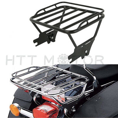 HTT Motorcycle Flat Black Detachable Luggage Rack For 1997-2008 Harley Davidson Touring Model Road King FLHR// Road Glide FLTR