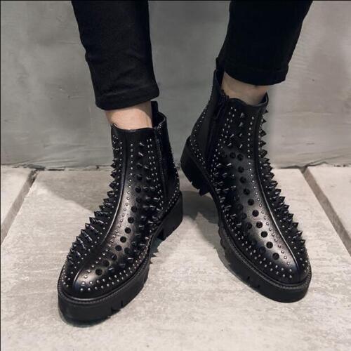 Shoes Zip Casual Mens Warm Stivaletti Strass Punk V028 laterali rivetti Knight 4wxnOC05qa