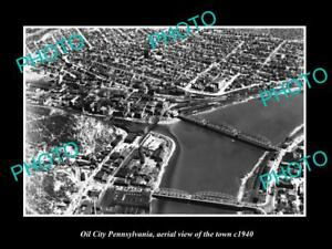 OLD-LARGE-HISTORIC-PHOTO-OF-OIL-CITY-PENNSYLVANIA-AERIAL-VIEW-OF-TOWN-c1940-2