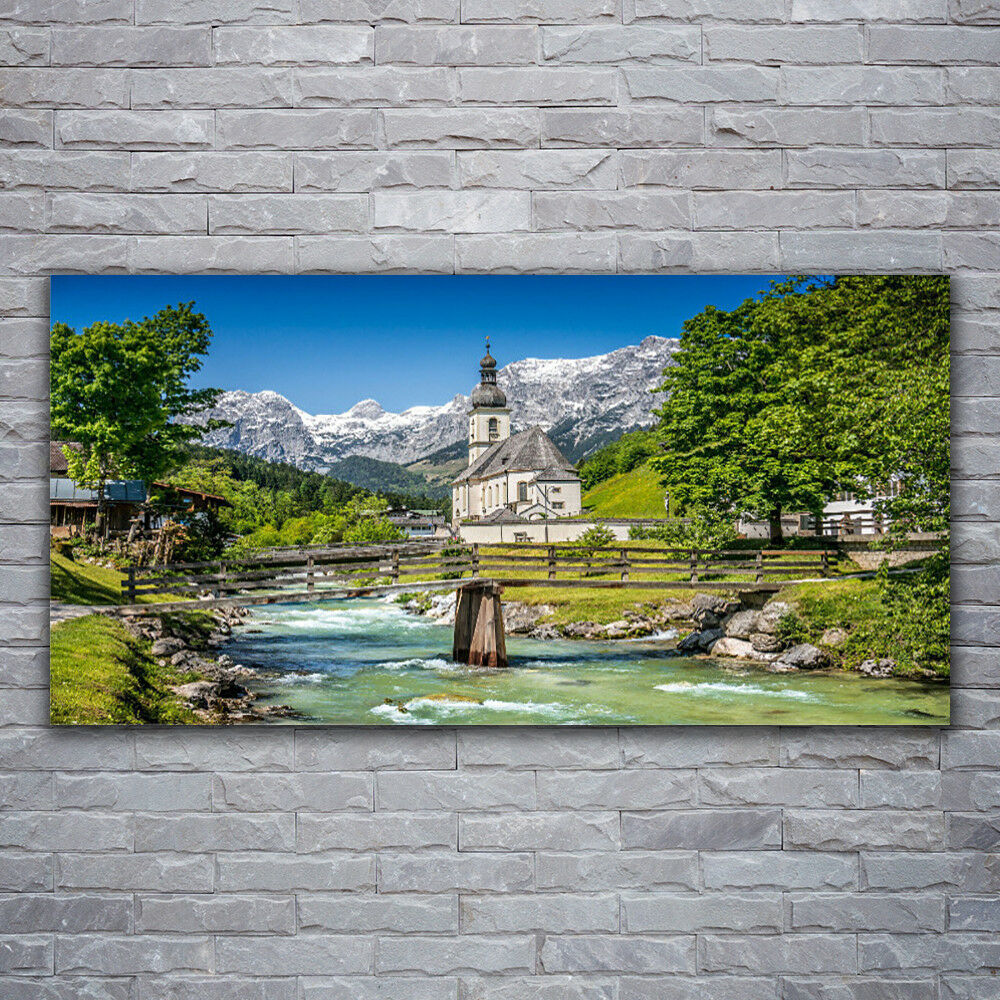 Photo sur toile Tableau Image Impression 120x60 Nature Eglise Pont Lac
