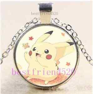 Pokemon-Pikachu-Photo-Cabochon-Glass-Dome-Silver-Chain-Pendant-Necklace-E17