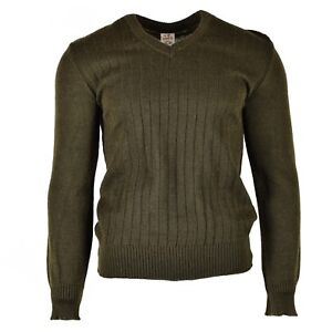 Original-Czech-army-pullover-M85-V-neck-sweater-brown-NEW