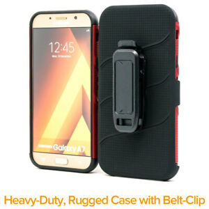 Samsung-A7-2017-Phone-Case-Belt-Clip-Kickstand-BURGANDY-Ships-from-SEA