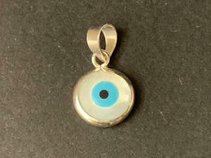 Genuine-925-Sterling-Silver-Evil-Eye-Mati-MOP-Mother-of-Pearl-Pendant-Charm