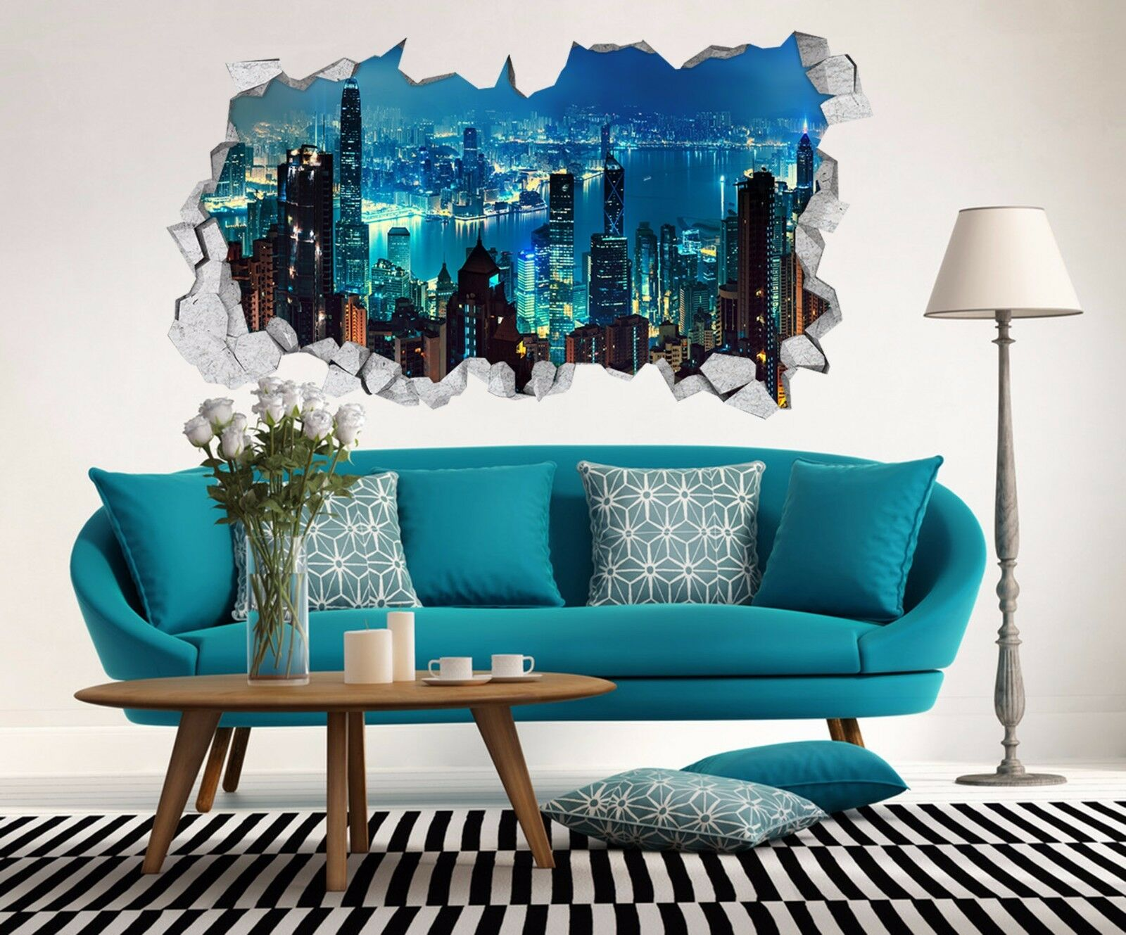 3D New York Notte 226 Parete Murales Adesivi Decal Sfondamento AJ WALLPAPER IT
