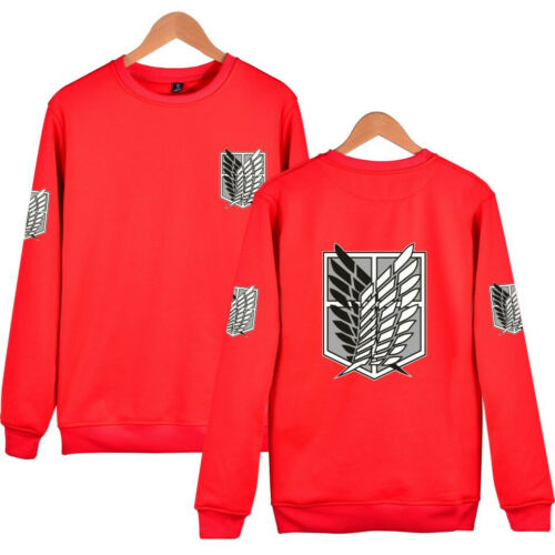 Attack On Titan Survey Corps Eren Mikasa SweatShirt Pullover Hoodie Crew Neck