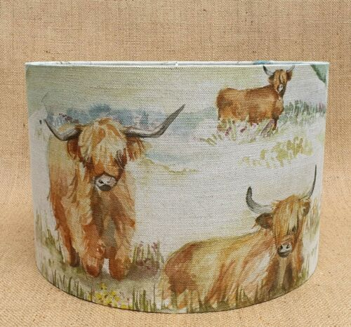 Handmade Voyage Decoration HIGHLAND CATTLE cows calf drum lampshade small medium