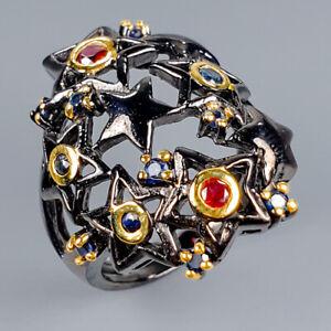 Vintage-Natural-Rhodolite-925-Sterling-Silver-Ring-Size-8-5-R118229