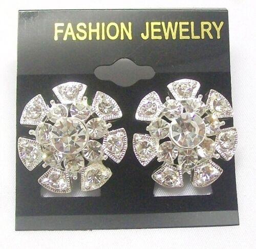 Silver Crystal Studs Flower Earrings Women Girls Dress Fashion Jewellery Jewelry