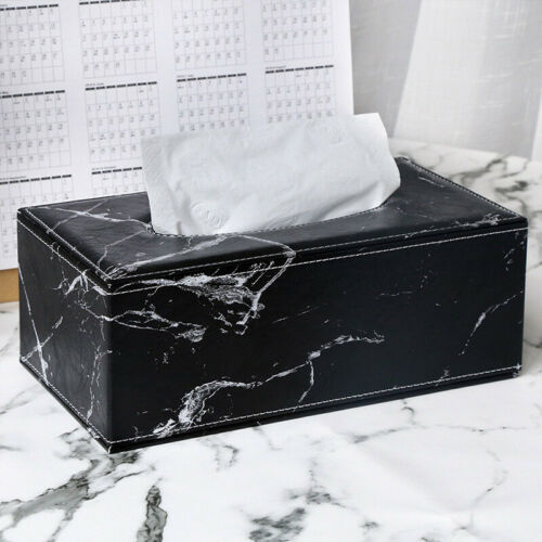 Marble Rectangular PU Tissue Box Cover Car Paper Napkin Holder Home Hotel Decor