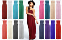 Women Ladies Sheering Maxi Dress Boobtube Strapless Bandeau Long Top Summer 8-14
