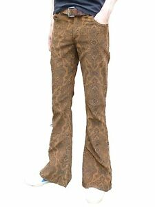 FLARES-Brown-Paisley-Mens-Bell-Bottoms-Corduroy-Pants-vtg-Hippie-trousers-60-039-s