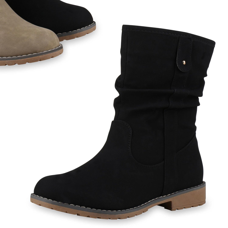 Derbe Damen Stiefel Nieten Stiefeletten Flache Outdoor Boots 813360 Top