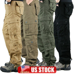 Men Combat Work Security Multi Pocket Pants Army Cargo Military Casual Trousers